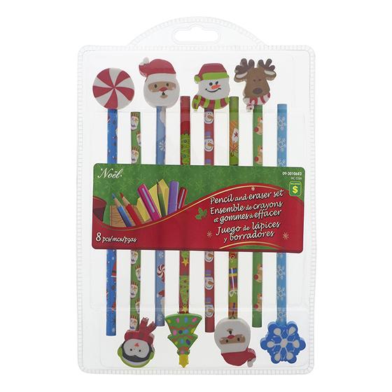 Paq. de 8 crayons de Noël avec efface