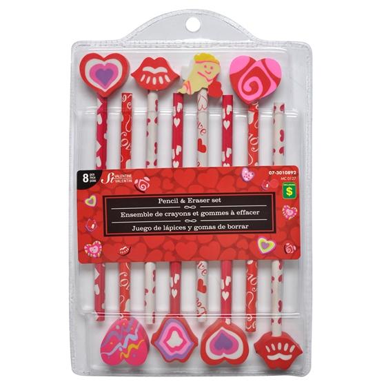 8Pk Valentines Pencil With Eraser