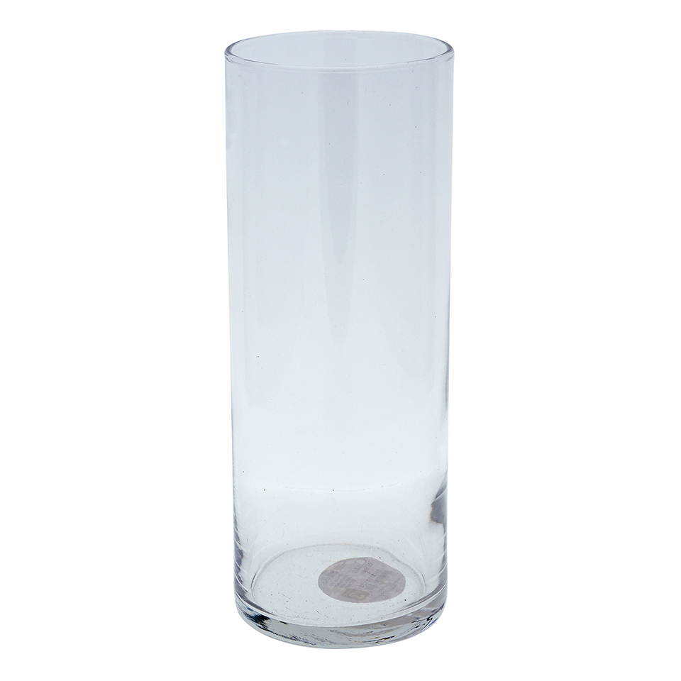 "Cylindrical Clear 9"" Glass Vase"