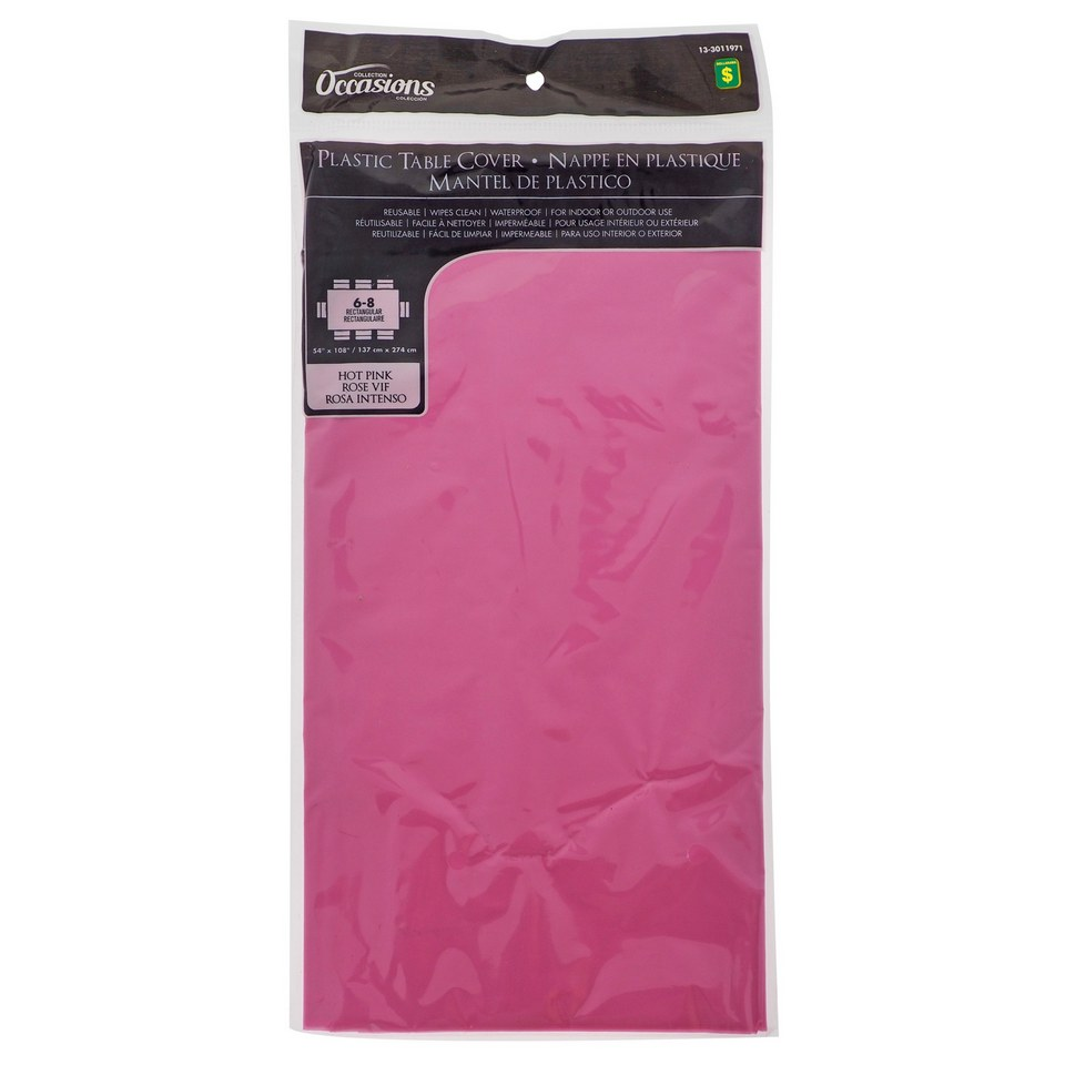Rectangular Hot Pink Plastic Table Cover