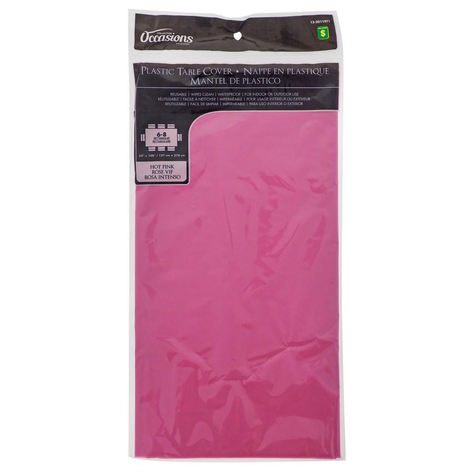 Nappe rectangulaire rose vif en plastique