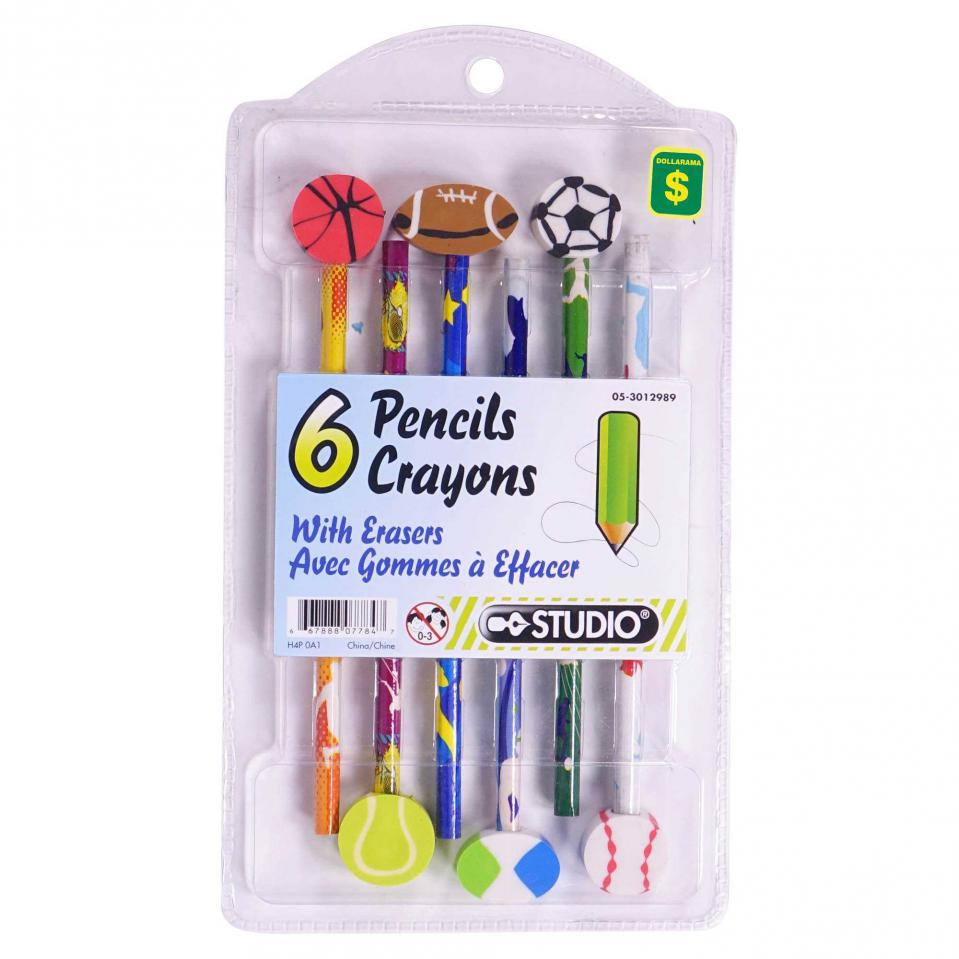 Pencils with Theme Eraser 6PK (Assorted Designs and Shapes)