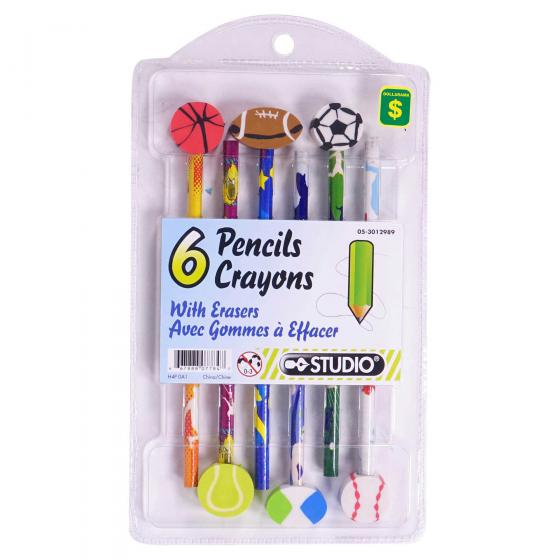 6PK Pencils with Theme Eraser (Assorted designs and shapes)