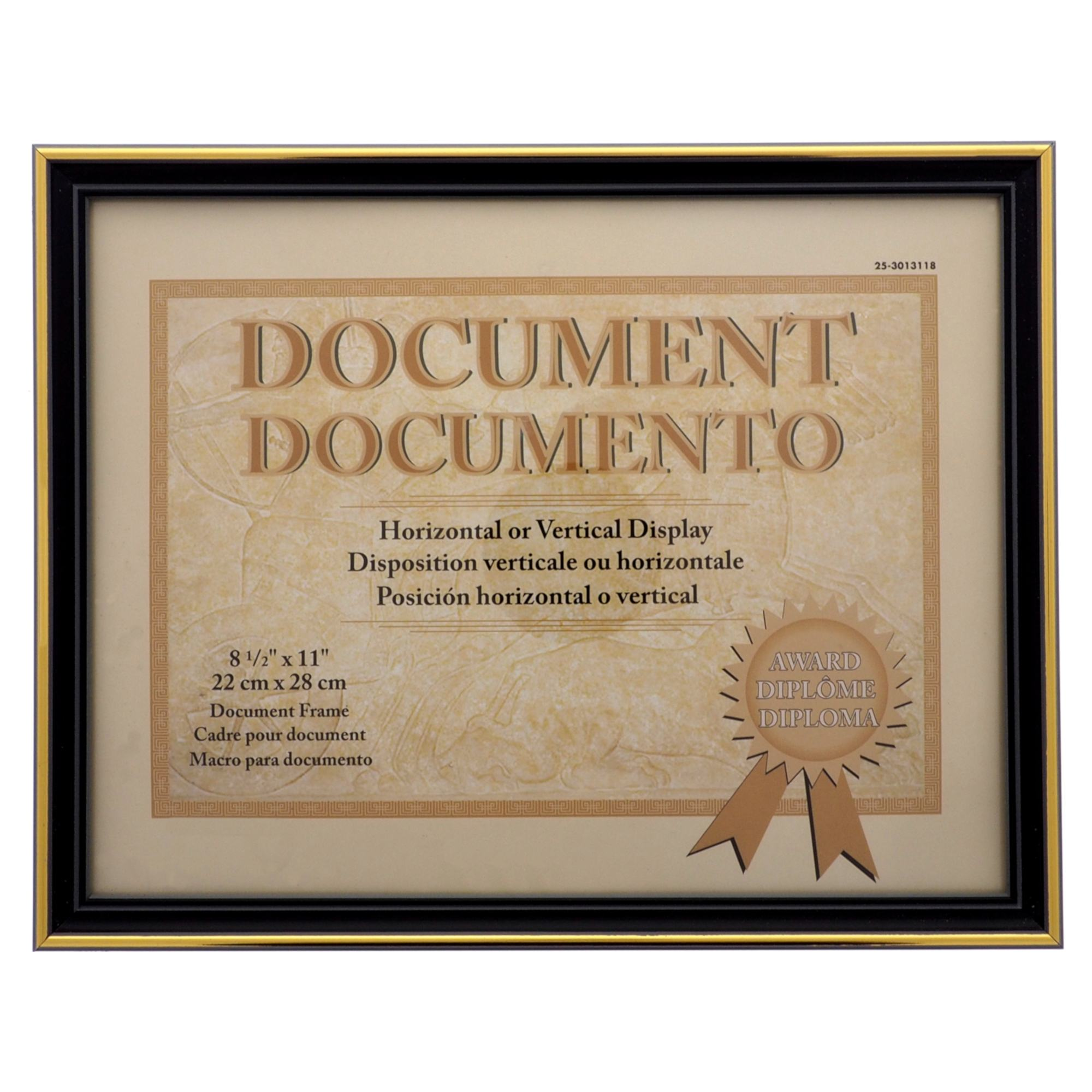 85x11 Document Frame With Metallic Trim Assorted Colours