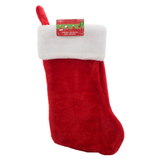 Thick Plush Stocking With Roll Over White Thick Cuff