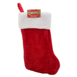 Thick Plush Stocking With Roll Over White Thick Cuff - 0