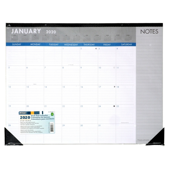 2020 12 Sheet Desk Pad Calendar - English