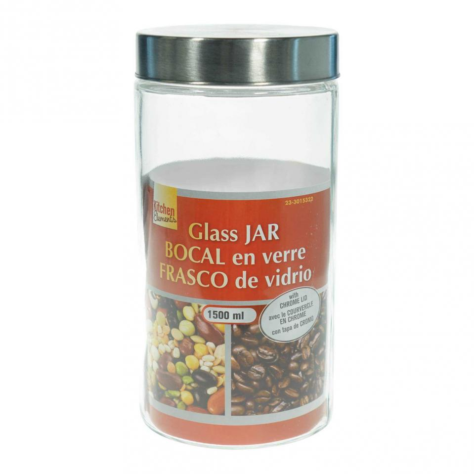 Round Glass Jar with Stainless Steel