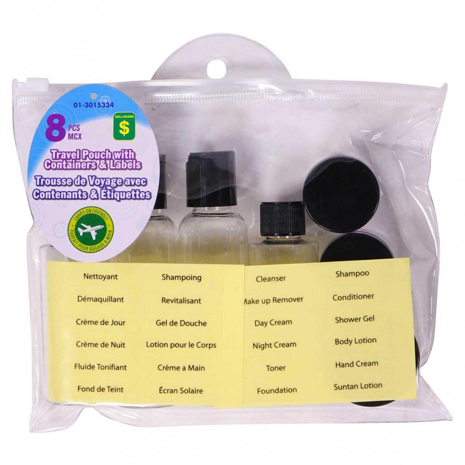 Travel Pouch Set with Containers and Labels 8PC (Assorted Colours)