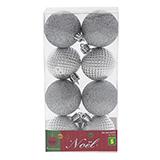 8Pk Silver Non Breakable Tree Balls In An Acetate Box - 0