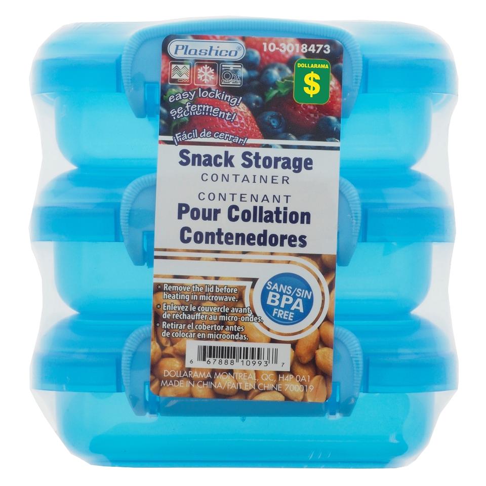 3Pk Lunch Storage Clip Lock Plastic Container
