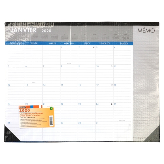 2020 12 Sheet Desk Pad Calendar - French