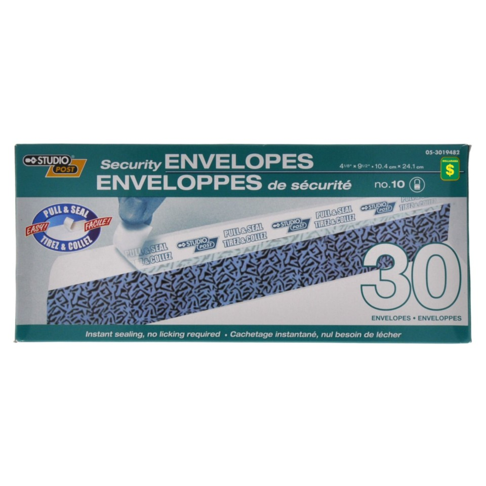 30PK Security Envelopes, no.10