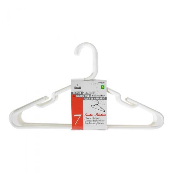 7 Cintres en plastique blanc