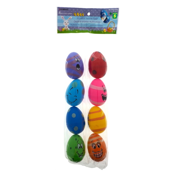 8PK Easter Fillable Eggs With Facial Expression