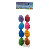 8PK Easter Fillable Eggs With Facial Expression - 0