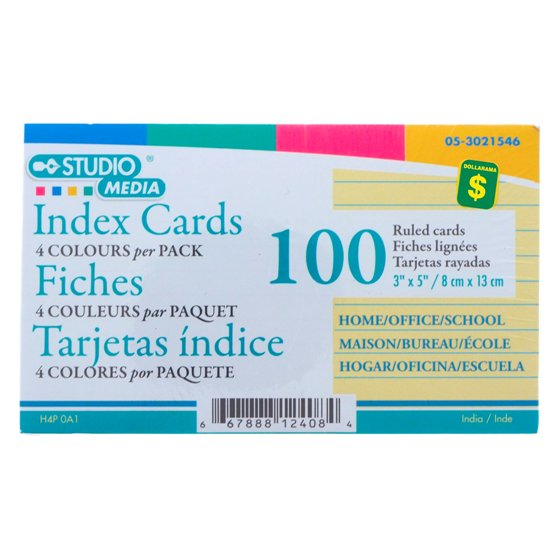 Coloured Ruled Cards 100PK