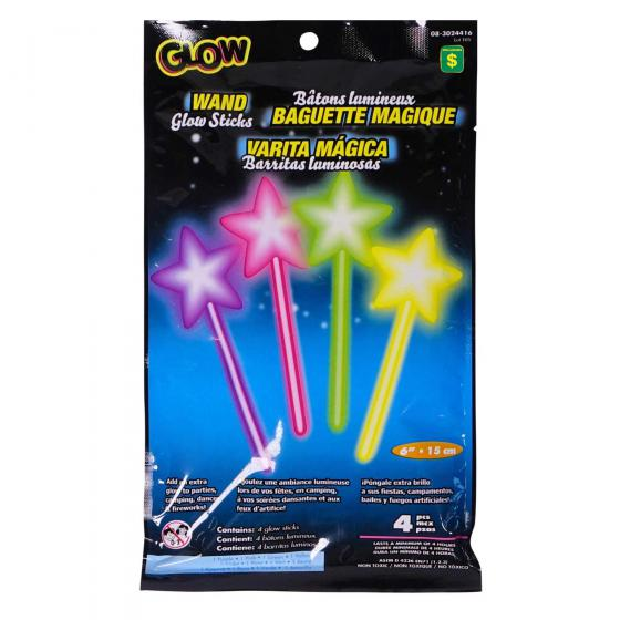 4PK Wand Glow Sticks (Assorted colours and shapes)