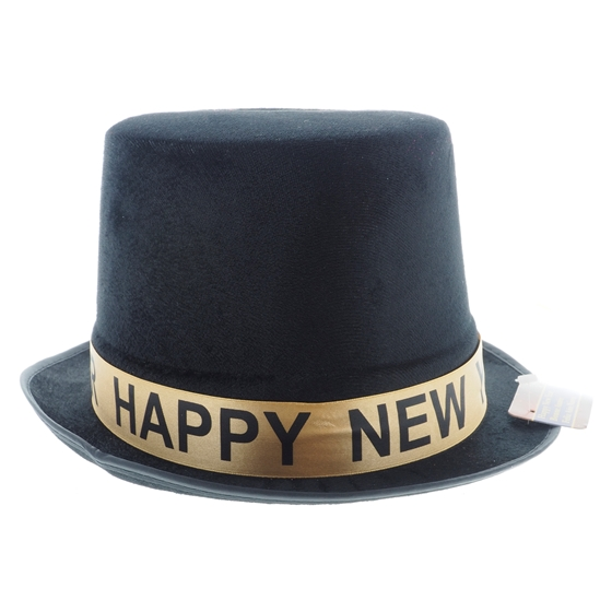 "Black Velours Fedora Top Hat With Silver ""Happy New Year"" Banner"
