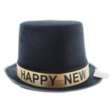 Chapeau fedora en velours noir du Nouvel An - 0