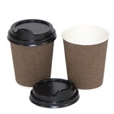 10PK Coffee Paper Cups with Lids - 1