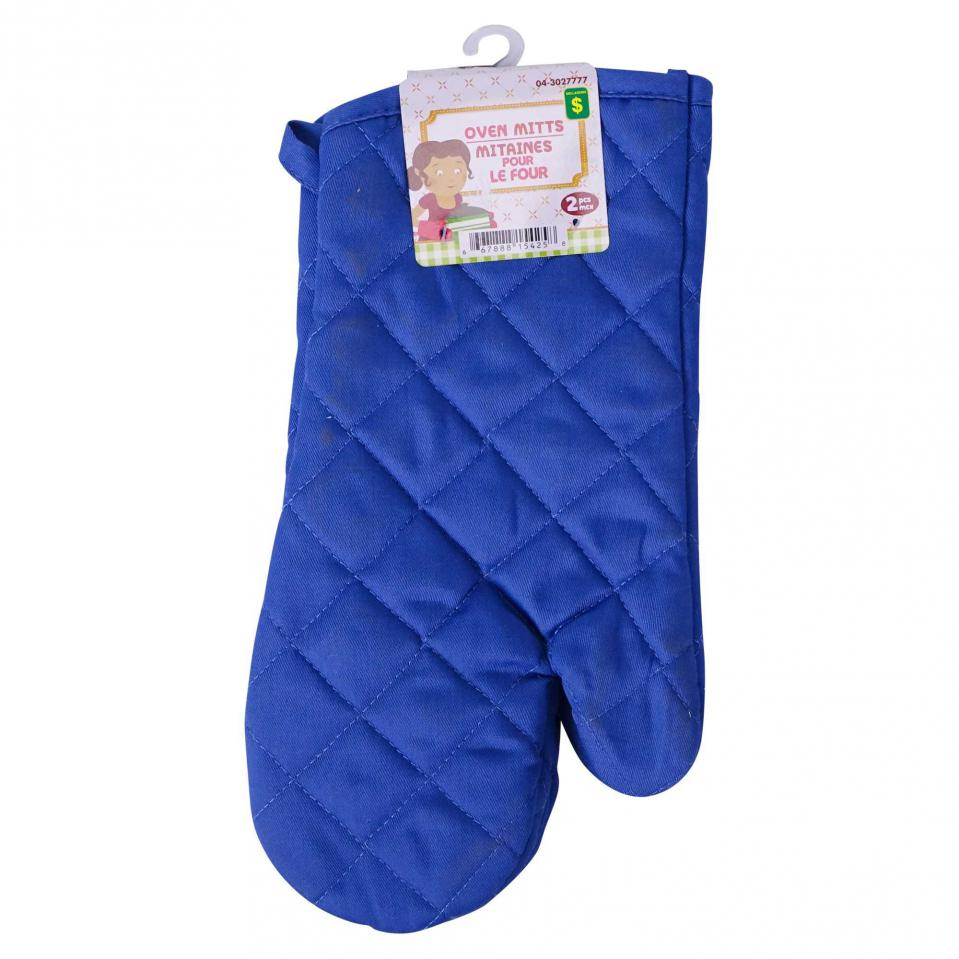 2PK Quilted Oven Mitts (Assorted colours)