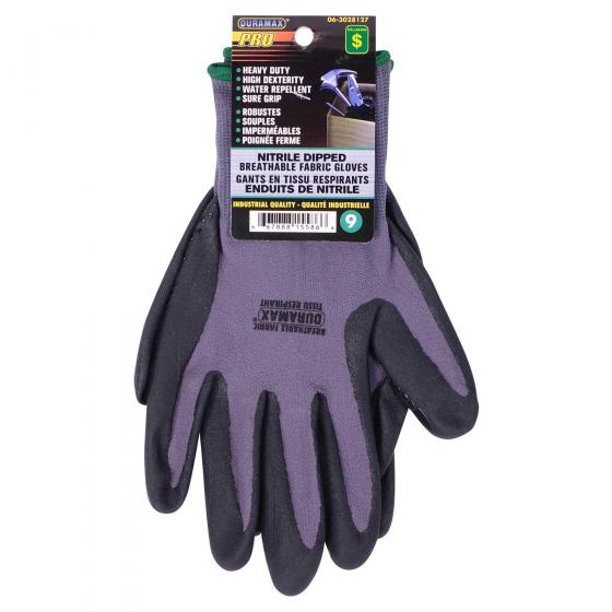 Nitrile Dipped Breathable Fabric Gloves (Assorted sizes)
