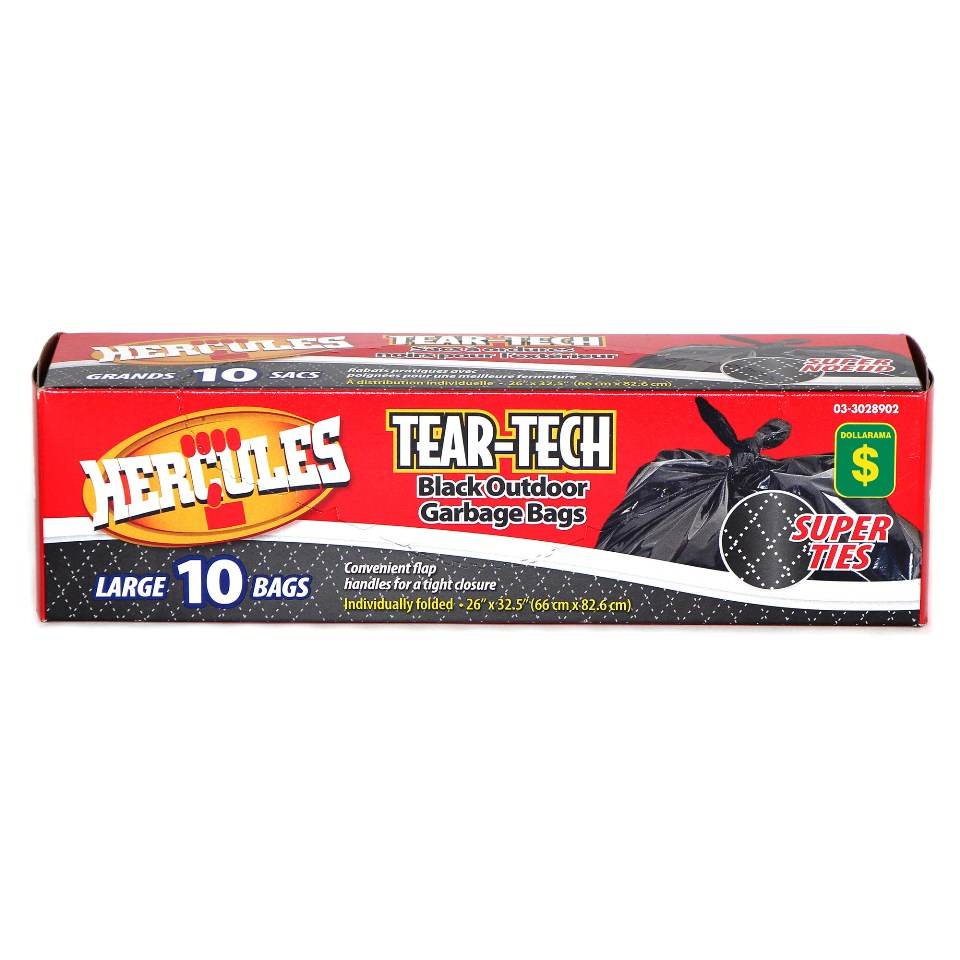 10PK Black Outdoor Garbage Bags