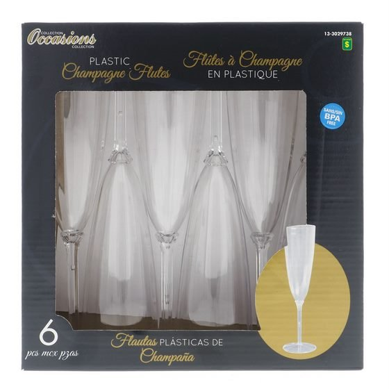 6PK Boxed Plastic Champagne Flutes