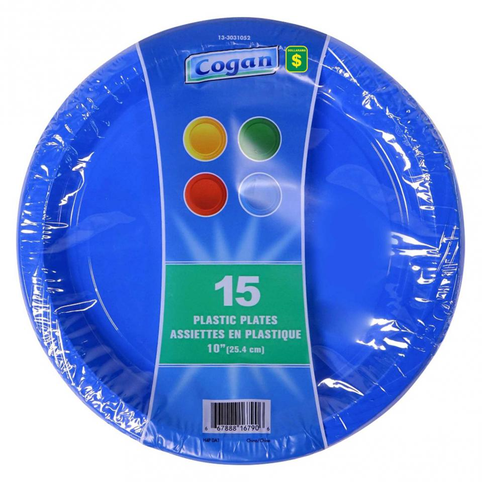 Plastic Dinner Plates 15PK (Assorted Colours)