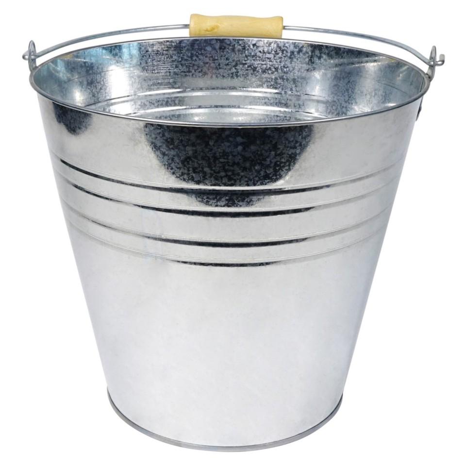 Tin Bucket with Wood Handle