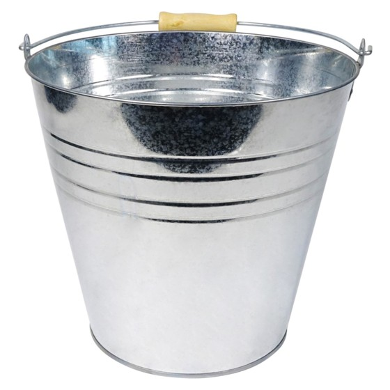 Tin Bucket with Wood Handle