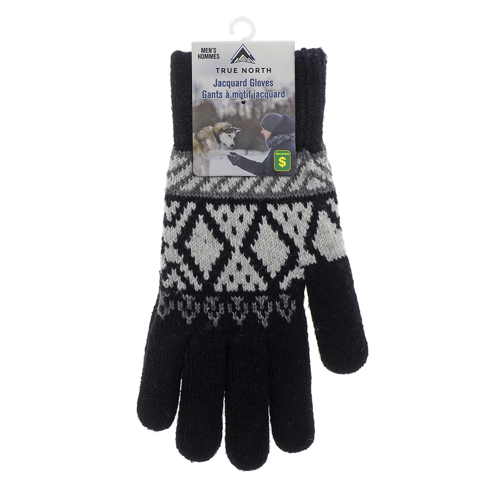 Men's Jacquard Gloves with Brushed Interior