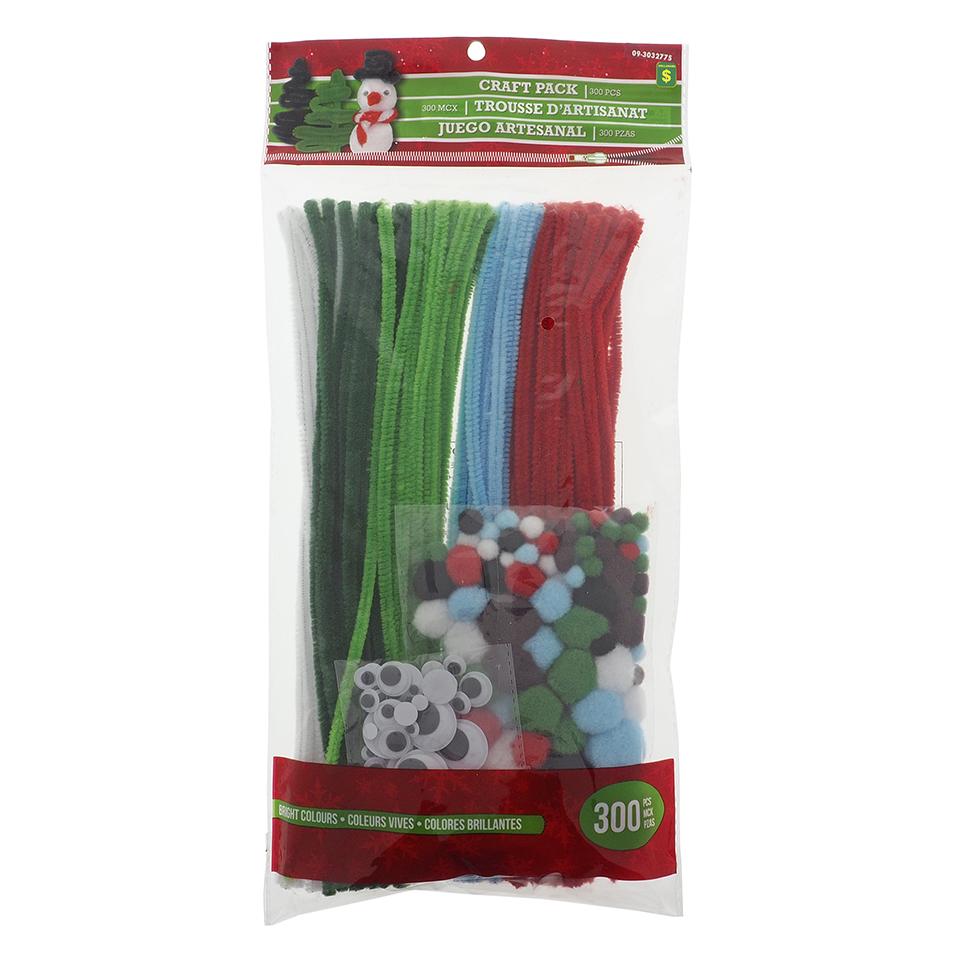 300Pc Mega Chenille Stick Pack W/Pompom And Googly Eyes