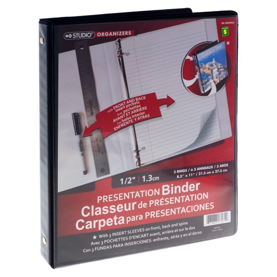 "0.5"" 3-Ring Presentation Binder (Assorted colours)"