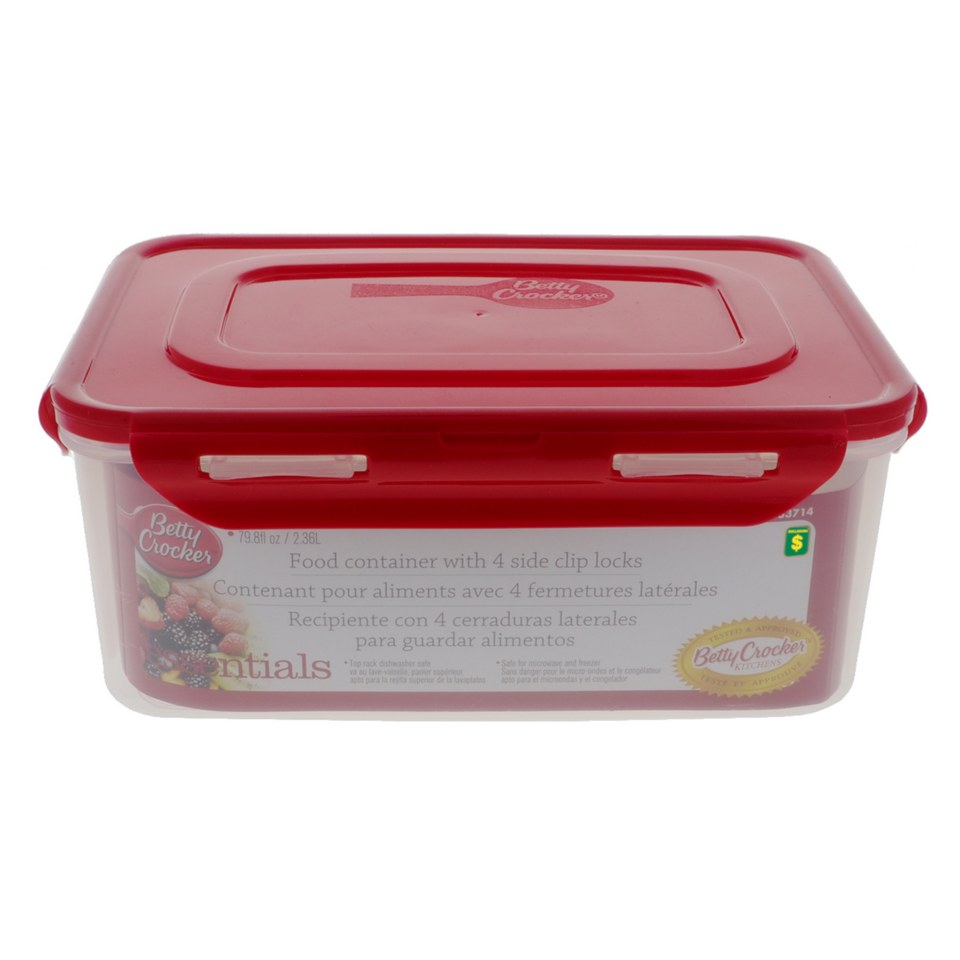 Food Container with 4 Side Clip Locks