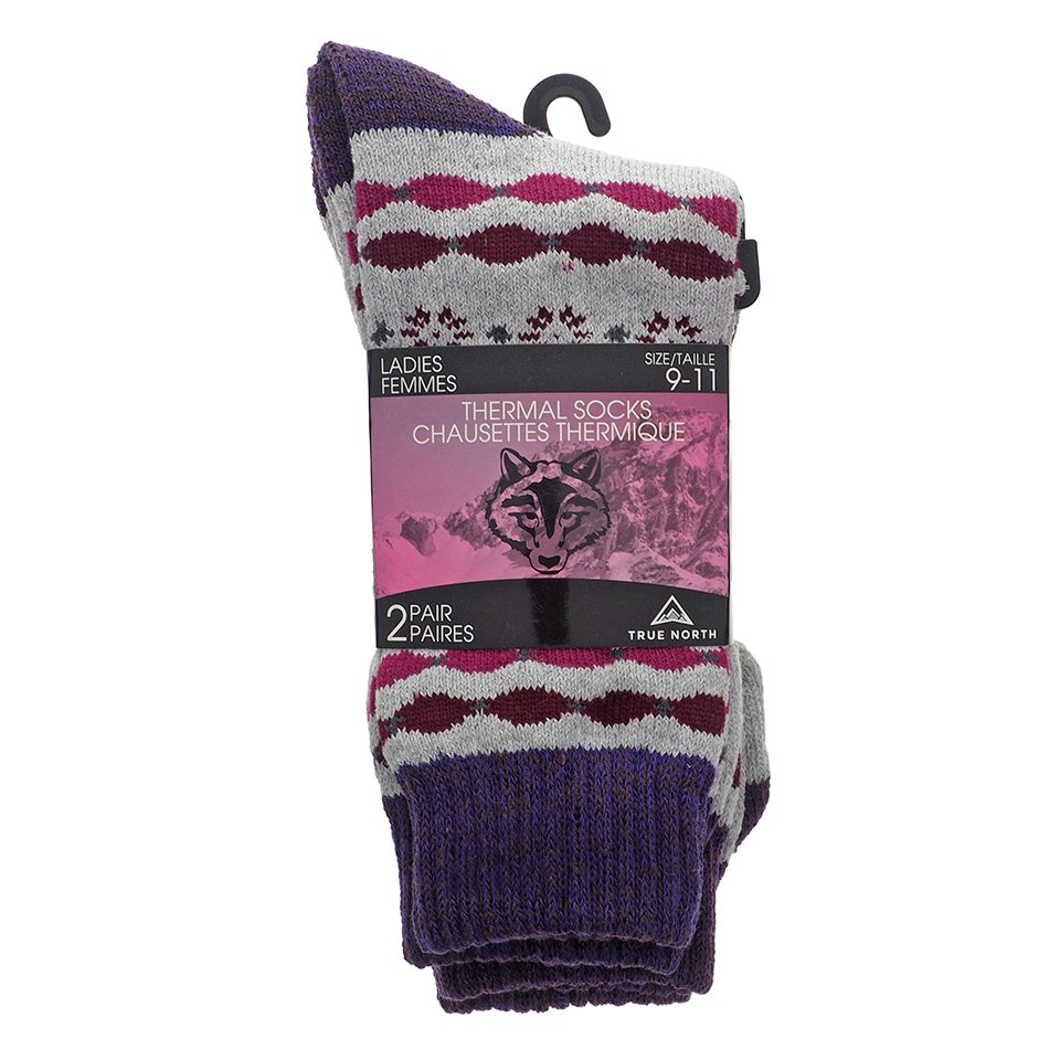 2 Pk Ladies Melange Thermal Crew socks