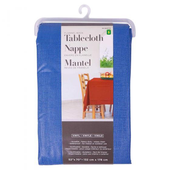 Rectangular Flannel-Backed Vinyl Tablecloth (Assorted colours)
