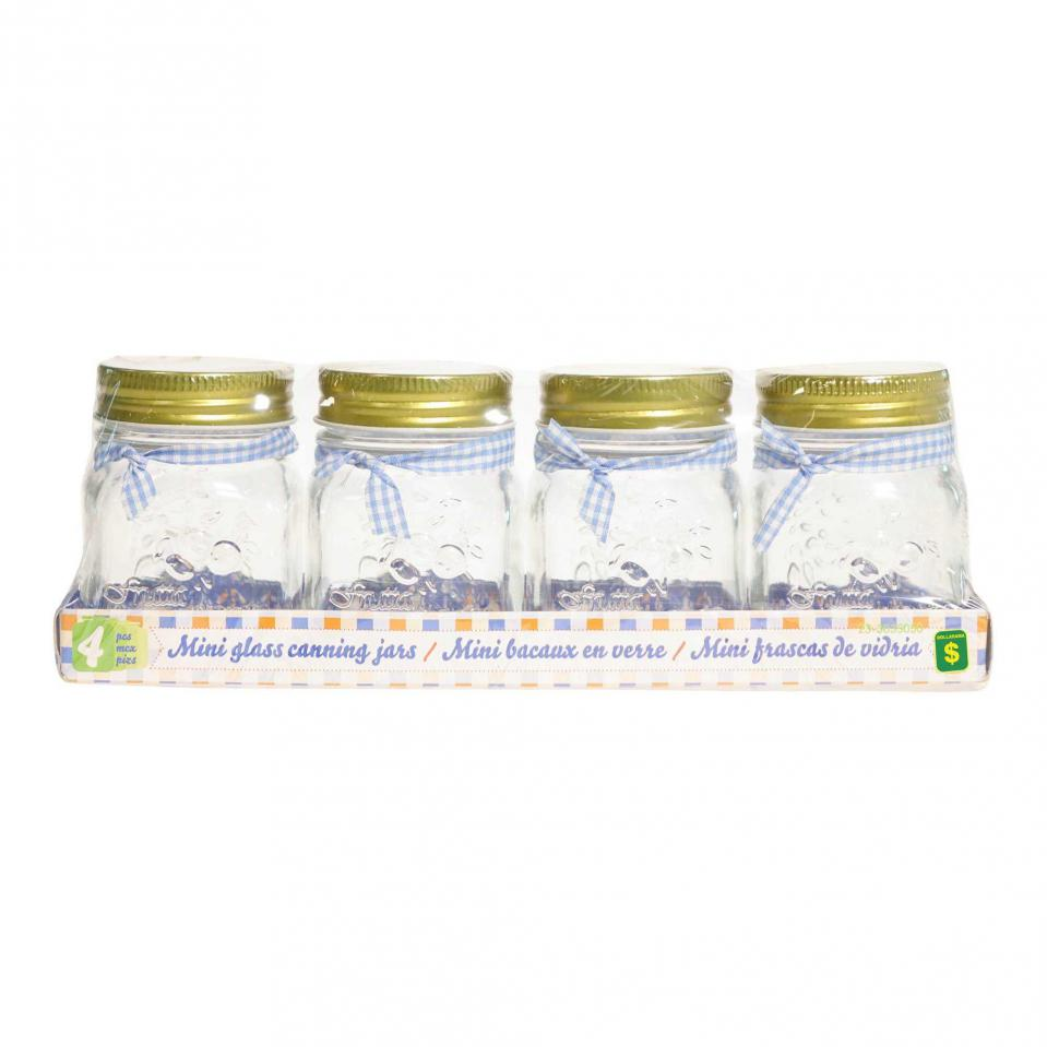 175 mL Glass Canning Jars 4PK (Assorted Colours)