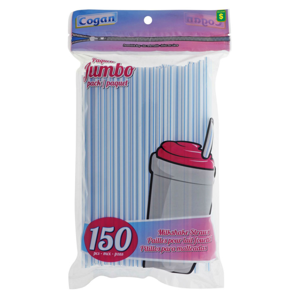 150PK Large Plastic Milkshake Straws