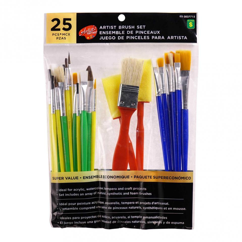 Artist Brush Set 25PC (Assorted Shapes and Colours)