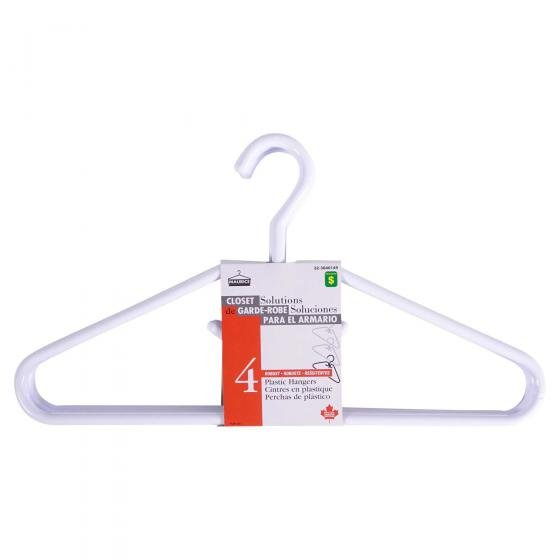 White heavy duty Plastic Hangers 4PK