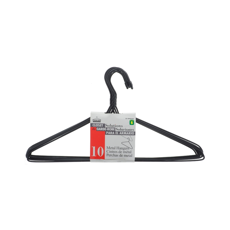 10PK Plastic coated Metal Hangers (Assorted Colours)