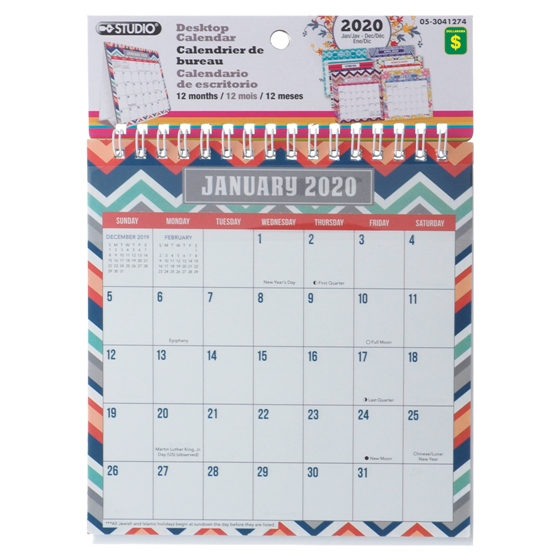 2020 A-Frame Desk Calendar - English