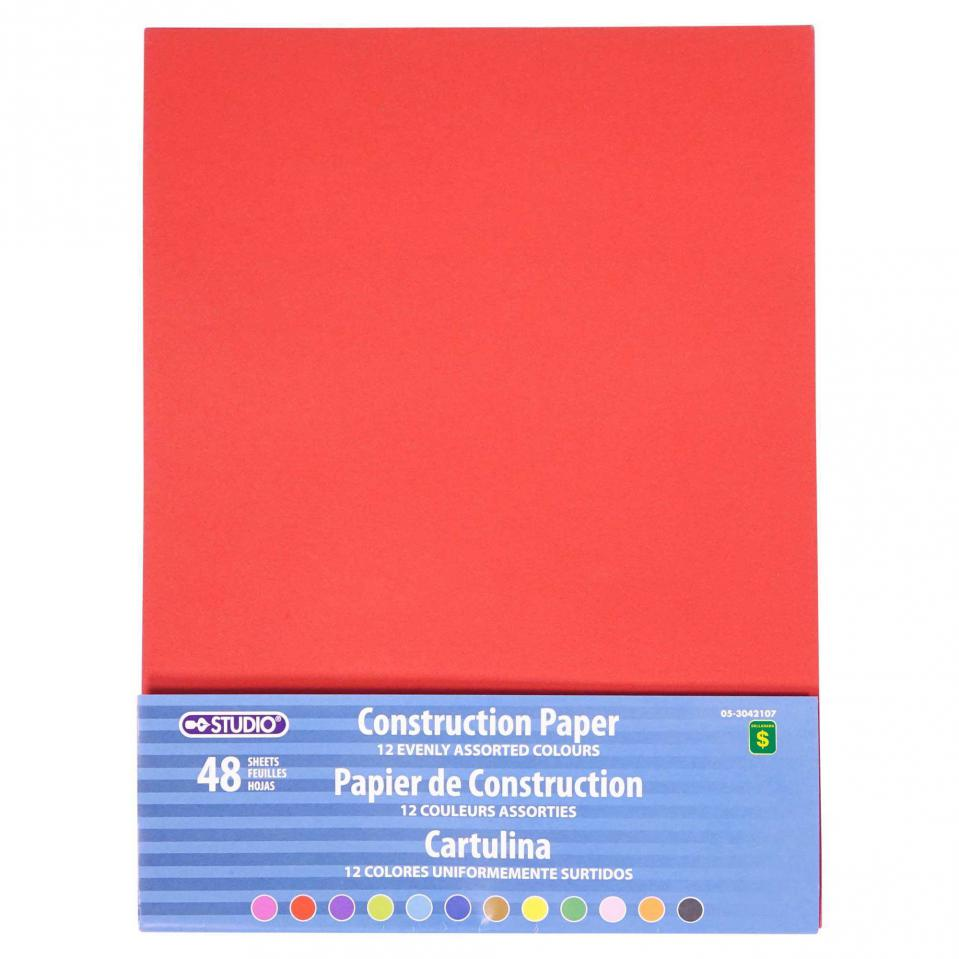 48 Sheets Construction Paper (Assorted Colours)
