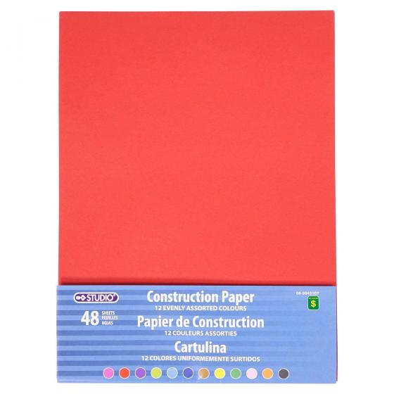 48 feuilles de Papier de construction (Couleurs assorties)