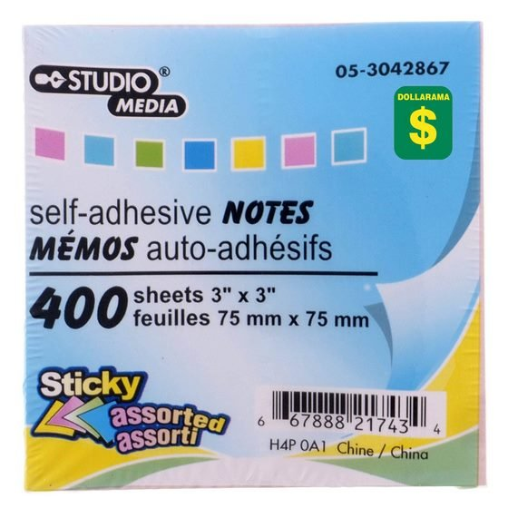 400 Self-Adhesive Notes (Assorted Colours)