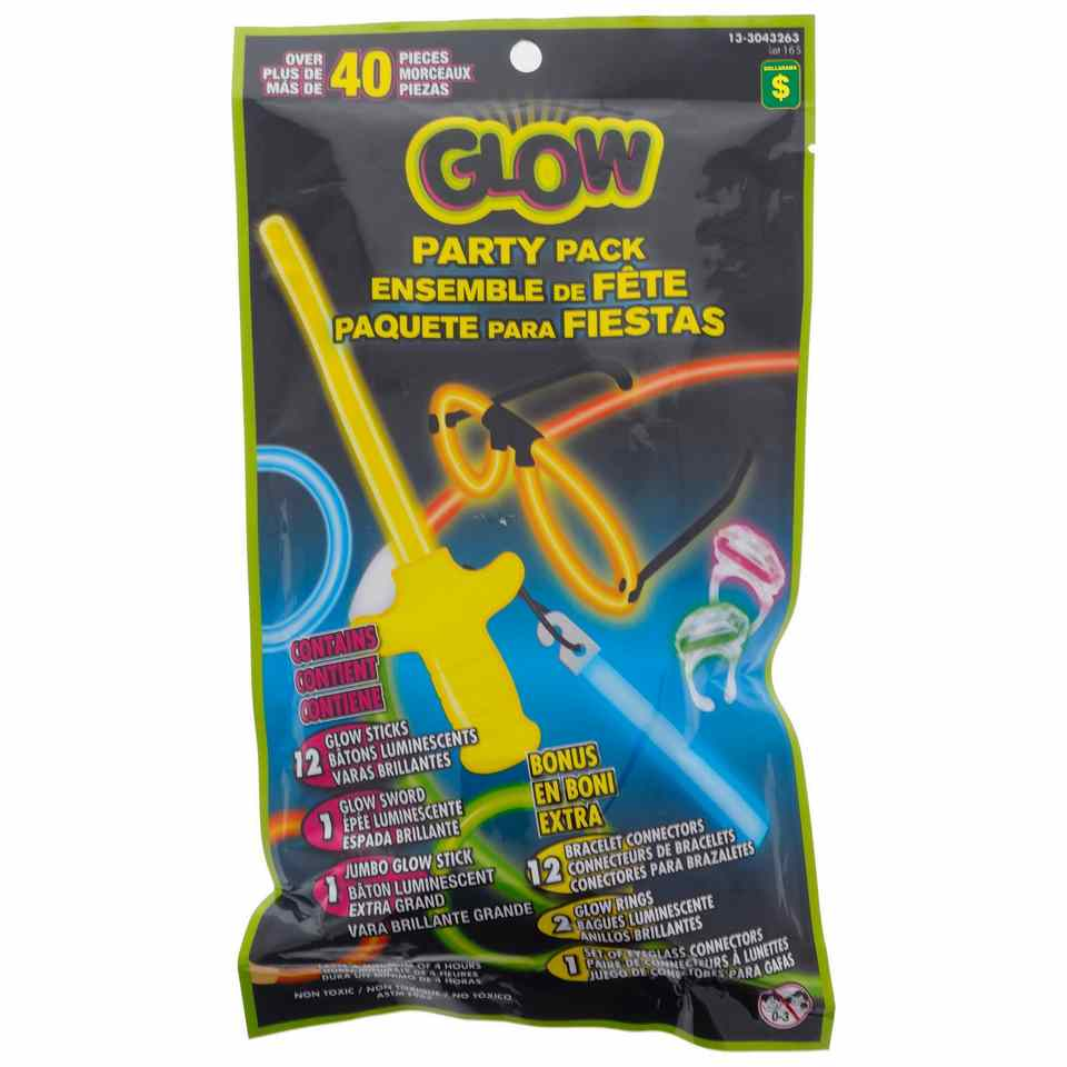 40PK Glow Party Pack (Assorted shapes and colours)