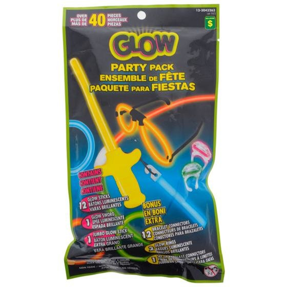 Glow Party Pack 40PK (Assorted Shapes and Colours)
