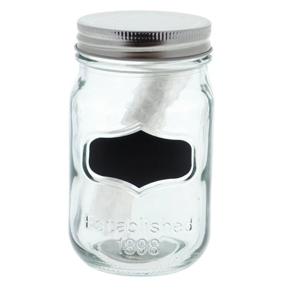 Bocal en verre avec étiquette noire et couvercle en métal (Couleurs assorties)